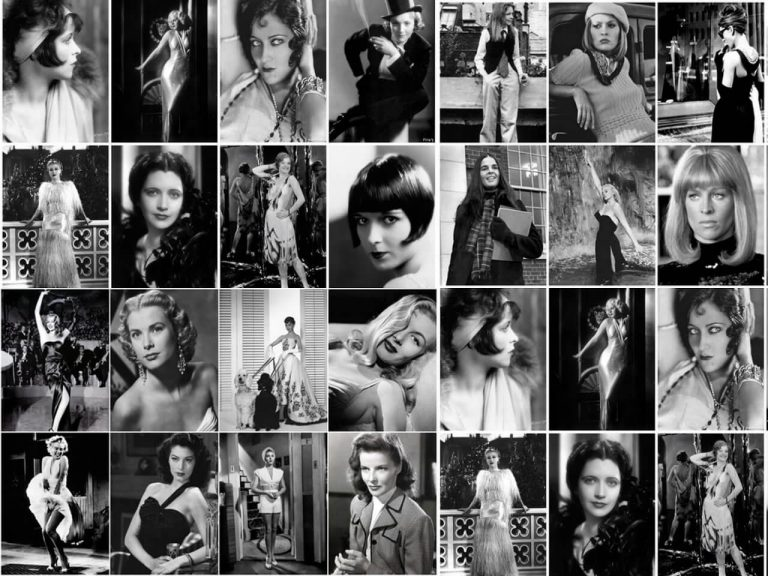 collage of film actresses showing different styles and fashions