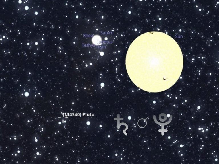 Picture of the sky at the time of the conjunction thanks to Stellarium