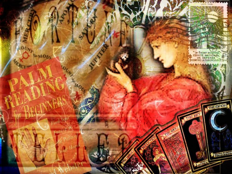 Collage of ways of divination including astrolgy, cards, palmistry
