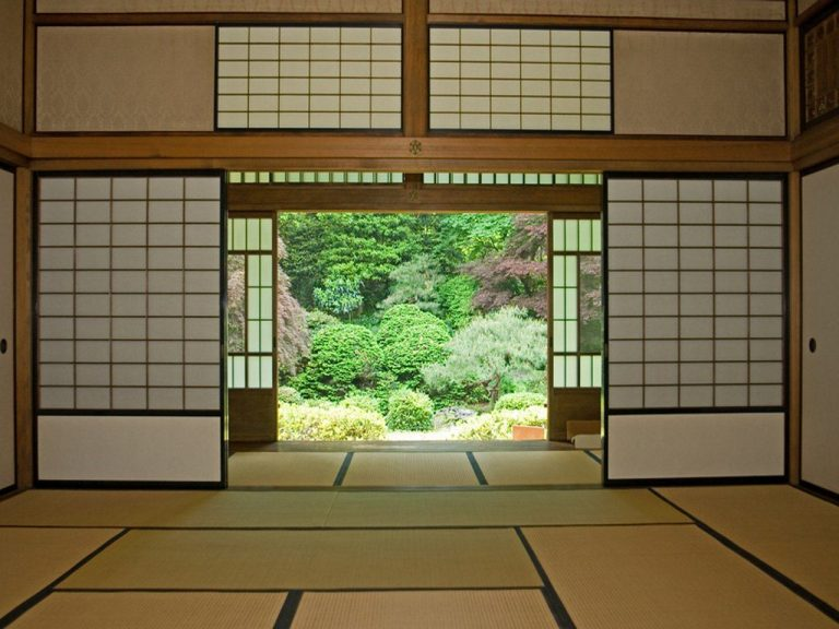 View from a Japanese room into a garden